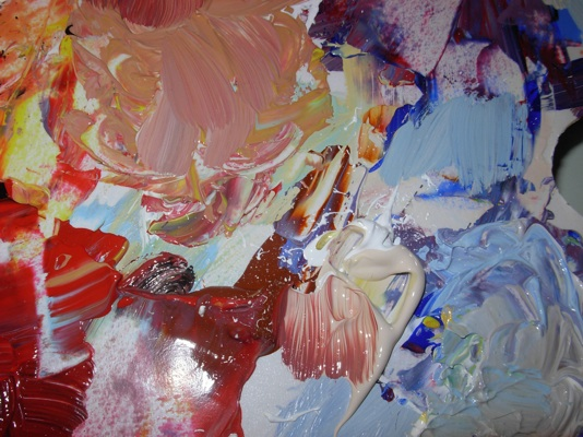 Schilderen als Cobra, felle kleuren op schilderspalet
